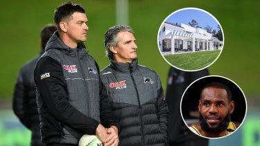 Penrith Panthers coaches Cameron Ciraldo and Ivan Cleary. Insert: Los Angeles Lakers NBA superstar LeBron James and his Los Angeles mansion.