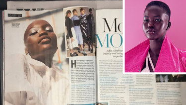 Model Adut Akech (inset) and the Who magazine spread that incorrectly used a photo of Flavia Lazarus.