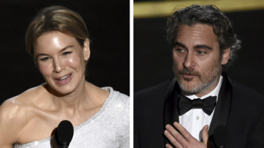 Renee Zellweger and Joaquin Phoenix accept their best actress and best actor Academy Awards.