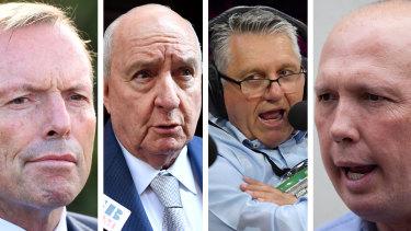 Tony Abbott, Alan Jones, Ray Hadley and Peter Dutton.