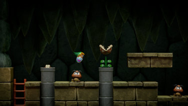 Weird side-scrolling areas and Mario enemies sets the game apart from other Zeldas.