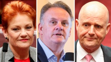 Shaking up NSW politics? Pauline Hanson and her recruit targeting the NSW upper house, Mark Latham, and his almost political ally,  David Leyonhjelm.