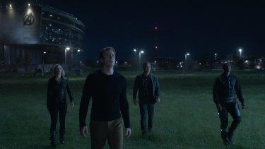 Scarlett Johansson as Black Widow, Chris Evans as Captain America, Mark Ruffalo as Bruce Banner and Don Cheadle as War Machine in Endgame.