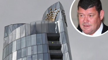 Crown's Barangaroo development in Sydney and major shareholder James Packer (inset).