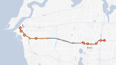 The proposed line linking Bull Creek to Fremantle would feature 18 stops along 12 kilometres of rail.