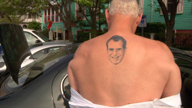 Roger Stone, once a young volunteer for Richard Nixon's re-election committee, has a tattoo of the disgraced former president on his back.