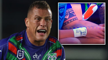 Kane Evans and the obscene message on his wrist strapping.