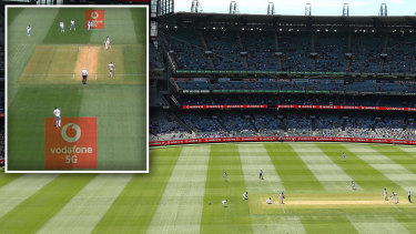 The MCG on Boxing Day, and (inset) as seen on the Fox Sports telecast.