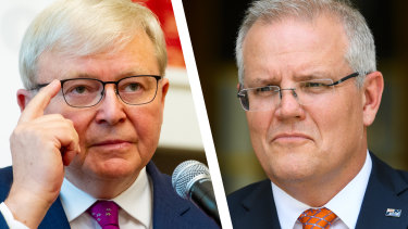 Kevin Rudd has criticised Scott Morrison over the Liberal Party's ad.