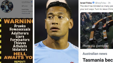 Unacceptable: Israel Folau's controversial social media posts.