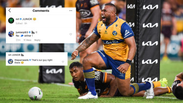 The image of Parramatta prop Junior Paulo that was published on Friday with the edited caption (top left) and the original caption (bottom left).