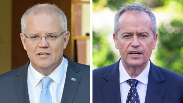 Scott Morrison and Bill Shorten on the first day of the federal election campaign for 2019.