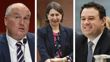 Premier Gladys Berejiklian has leapt to the defence of two of her ministers, David Elliott and Stuart Ayres.