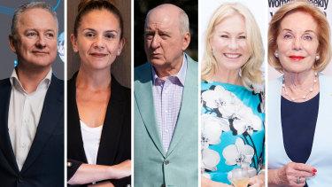 Hugh Marks, Melanie Silva, Alan Jones, Kerri-Anne Kennerley and Ita Buttrose.