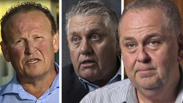Broadcast blue: ABC sport's Andrew Moore (right) believes Ray Hadley (centre), who he accused of bullying at 2GB, exchanged pleasantries for the benefit of Phil Rothfield's column.