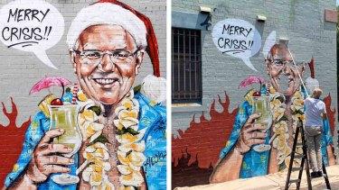 A mural of Scott Morrison by artist Scottie Marsh has been painted over.