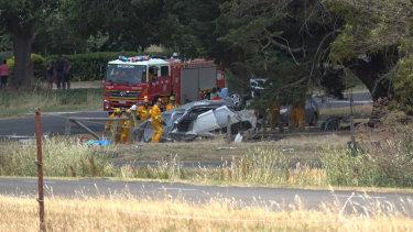 The scene at a fatal car crash near Ballarat.