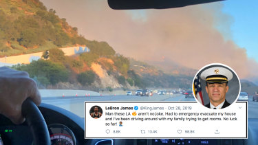 Cameron Ciraldo and Ivan Cleary drive past the raging Los Angeles fires last October. Insert: LeBron James' tweet and LA County Fire Department chief Derek Alkonis.