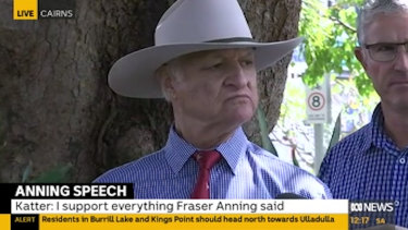 """KAP leader Bob Katter said he supported Senator Anning """"Absolutely one thousand per cent""""."""