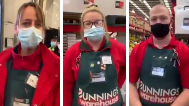 Bunnings staff dealing with a customer who refused to wear a mask.