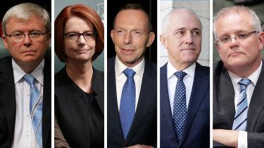 The five Prime Ministers of the last decade: Kevin Rudd, Julia Gillard, Tony Abbott, Malcolm Turnbull and Scott Morrison.