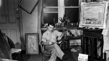 William Dobell pictured in his Kings Cross studio in 1949.