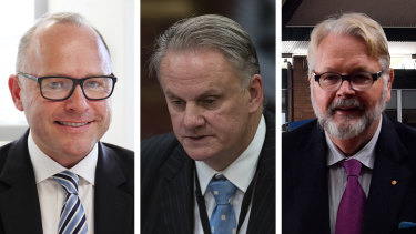 Catholic Schools NSW boss Dallas McInerney, One Nation NSW leader Mark Latham and Catholic Education Diocese Parramatta head Greg Whitby