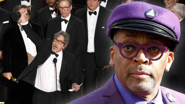 Spike Lee (right) reportedly walked out of the Oscars when Green Book won the award for best film (left).