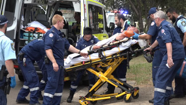 Paramedics resuscitated the man and gave him a blood transfusion, before he was taken to hospital in a critical condition.