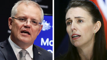 Australian PM Scott Morrison and New Zealand PM Jacinda Ardern. Australia may be left in the wake of NZ's recovery out of the pandemic recession.