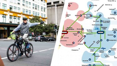 Left: Man cycles along Sydney's Liverpool Street. Right: The 2056 Greater Sydney Principal Bicycle Network (committed and existing) routes as at 2018