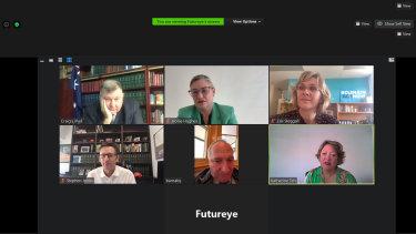Zoom workshop on empathy training with (clockwise from left) Craig Kelly,Hollie Hughes, Zali Steggall, Stephen Jones,Barnaby Joyce and Katherine Teh (facilitator).