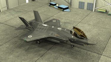 A virtual rendering of the F35 Joint Strike Fighter.