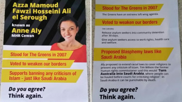 A flyer targeting Labor MP Anne Aly appeared on social media.