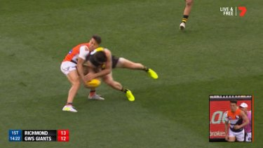 The incident with Trent Cotchin that ended Dylan Shiel's preliminary final in 2017.