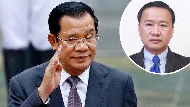 Chamroeun Suon, inset, was among 18 figures Cambodian leader Hun Sen, main, branded traitors.