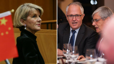 Foreign Minister and Western Australian MP Julie Bishop attends an Australia China Business Council event in June. Perth businessman Kerry Stokes entertains then communications minister Malcolm Turnbull at Huawei's 10-year anniversary celebration in 2014.