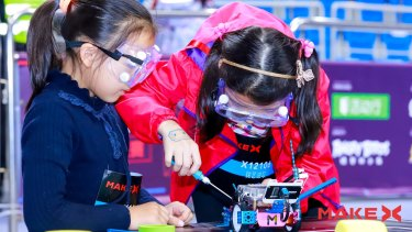 Competitors at the 2018 MakeX Robotics Competition, which is hosted by Makeblock and attracts thousands of students.