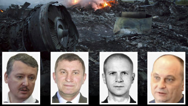 Criminal charges have been laid against four people allegedly responsible for shooting down MH17. They are, from left, Igor Girkin, Sergey Dubinsky, Oleg Pulatov, Leonid Kharchenko.