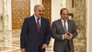 Khalifa Hifter, the head of the self-styled Libyan National Army, left, with Egyptian President Abdel-Fattah el-Sisi last year.