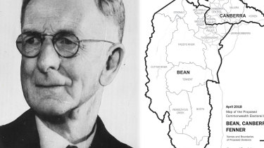 Charles Bean and the initial borders of the three new ACT electorates.