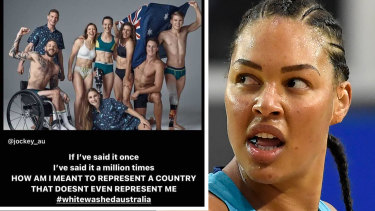 """Liz Cambage threatened to boycott the Games on Instagram over the alleged """"whitewashing"""" of two promotional shoots involving the Australian Olympic team."""