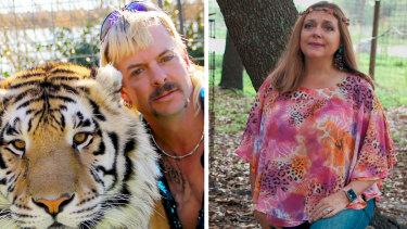 True crime with a punchline. Tiger King's Joe Exotic and chief rival Carole Baskin.