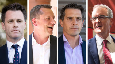 The four contenders: Chris Minns, Paul Scully, Ryan Park and Michael Daley.