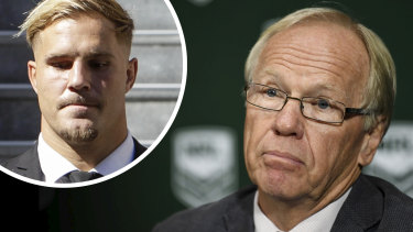 Man on a mission: ARLC boss Peter Beattie has led the campaign to stand down Jack de Belin (inset).