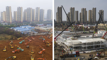 Before and after: A symbol of China's rapid response, albeit delayed, has been the speed at which workers in Wuhan are erecting a pair of field hospitals to accommodate virus patients.