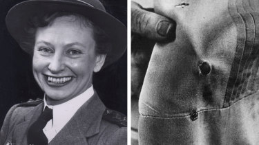 Vivian Bullwinkel, the only survivor of Radji, and her uniform showing the exit hole of the bullet.