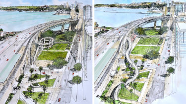 The two options for northern access to the Harbour Bridge under consideration by the state government.