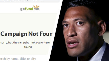 Israel Folau's controversial appeal for financial assistance for his legal fight against Rugby Australia has been shut down by GoFundMe Australia.