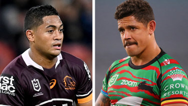 Dane Gagai, right, is moving to the Knights, which could open room for South Sydney to sign Anthony Milford, left.
